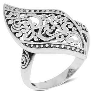 Antique 925 Sterling Silver Filigree Ring Size 6
